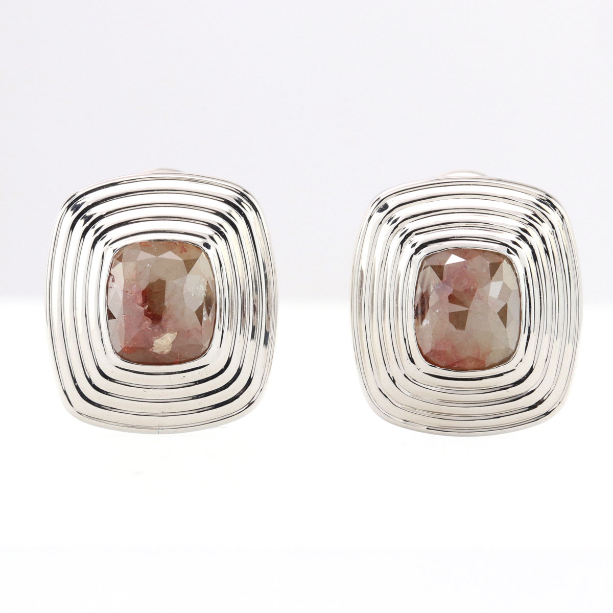 Fancy Brown Rough Diamonds Earrings in 18K White Gold