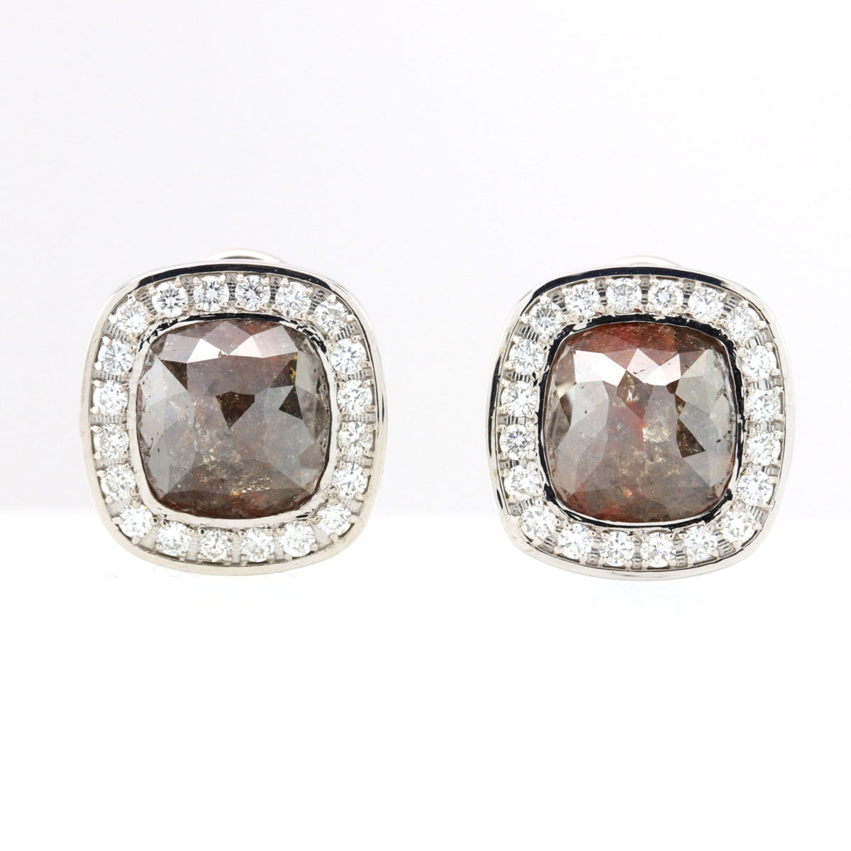 Chocolate Cabochon Fancy Colored Diamond Earrings 14K White Gold