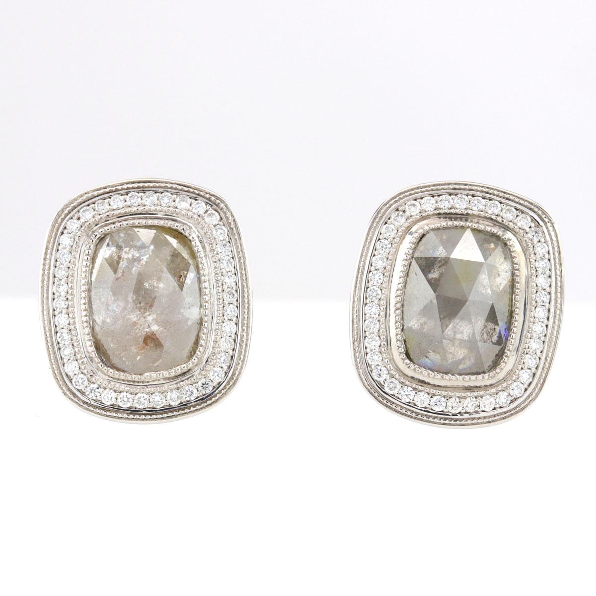 14K White Gold Rough Fancy Colored Diamond Halo Earrings