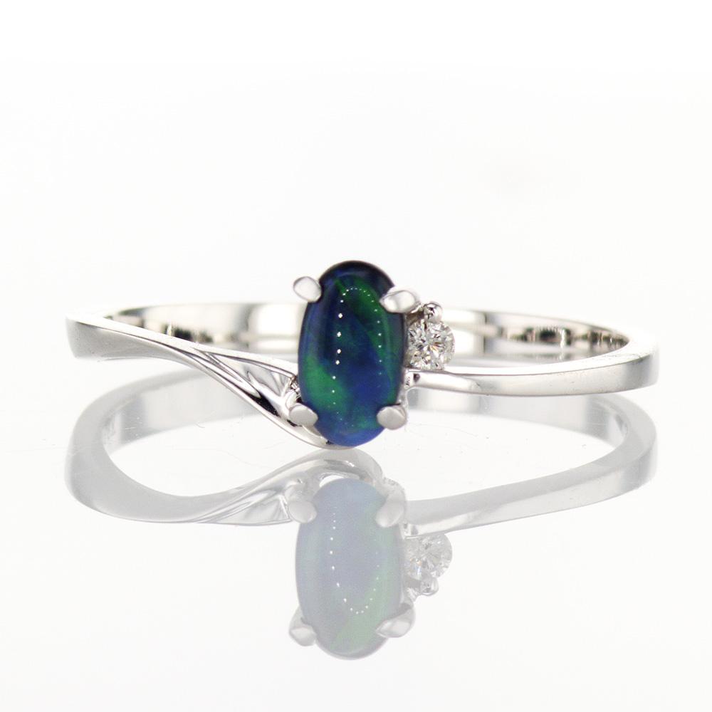 18k White Gold Dark Opal Ring