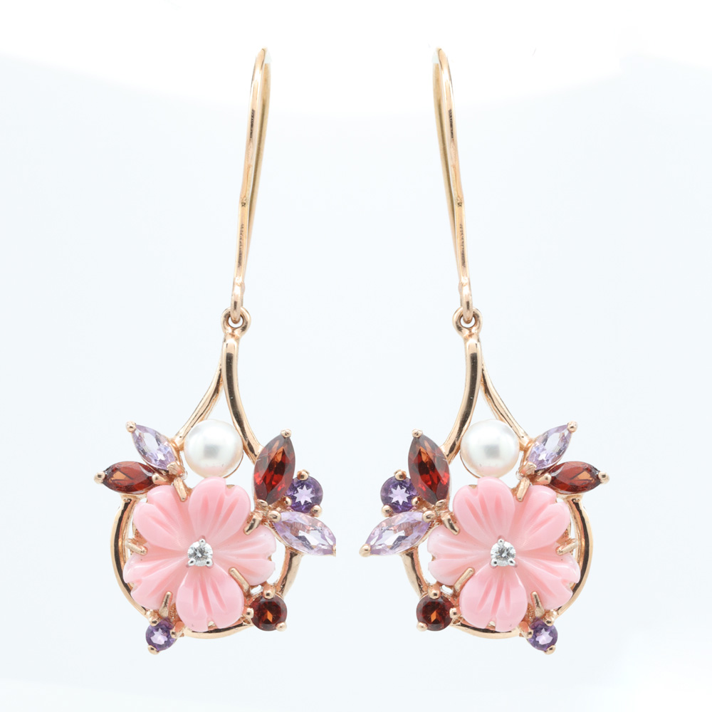 Floral Dangle Earrings with Gemstones, Pearl and Coral