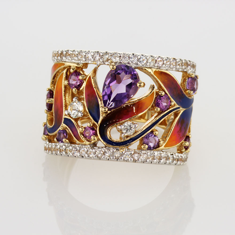 Art Nouveau Inspired Gemstone and Enamel Ring, 14k Yellow Gold