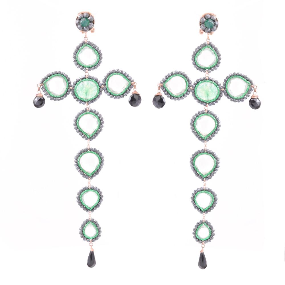 Bold Gemstone Dangle Drop Earrings, Sterling Silver