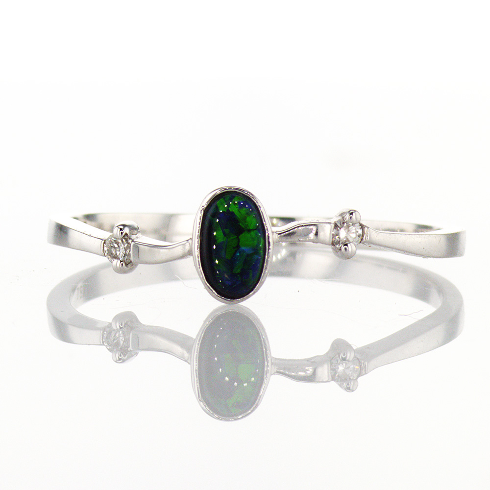 Dark Opal Gemstone Ring with Diamond Accents, 18k White Gold