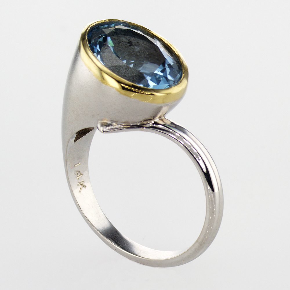 Dino Lonzano Blue Topaz Statement Ring, 14k Gold