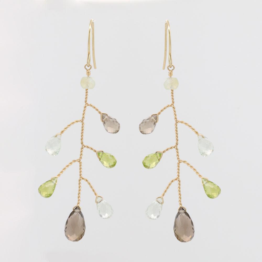Gemstone Dangle Earrings, 14k Yellow Gold