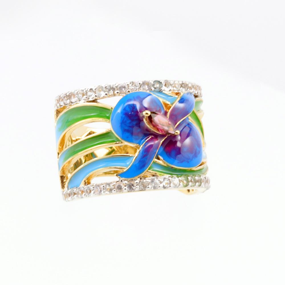 Art Nouveau Inspired Gemstone and Enamel Ring, 18k Yellow Gold