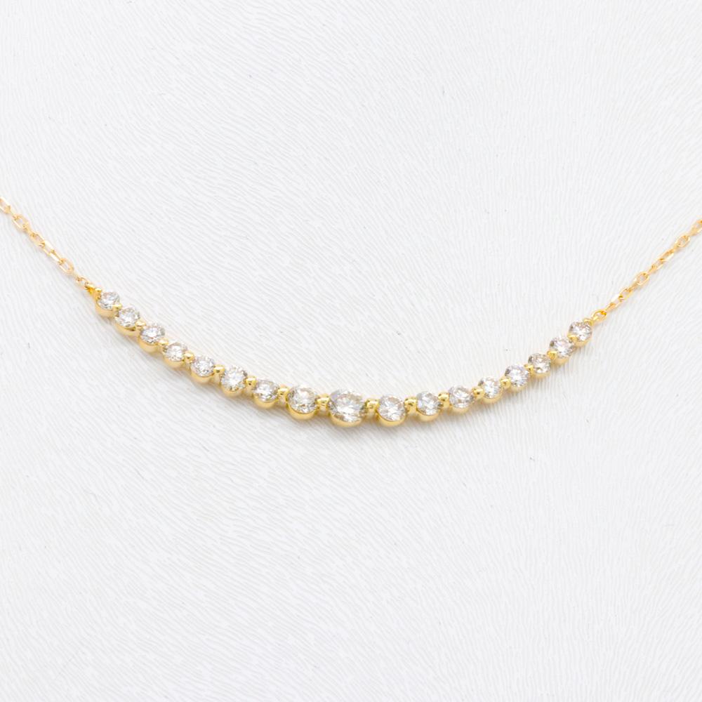Graduated Diamonds Curve Necklace, 18k Yellow Gold