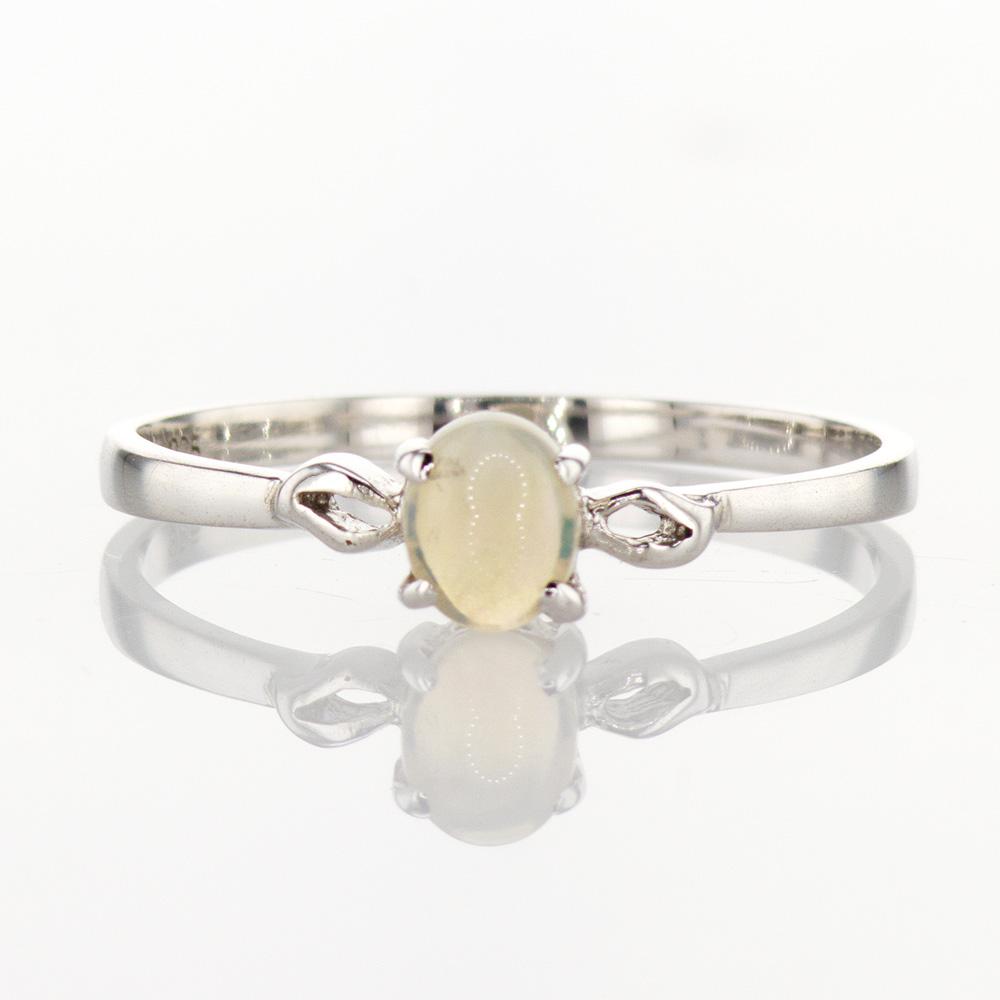 Light Opal Gemstone Ring, Silver