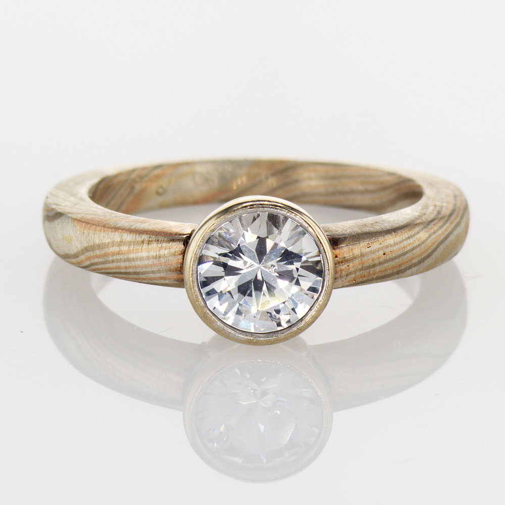 Mokume Gane Solitaire Engagement Ring with White Sapphire