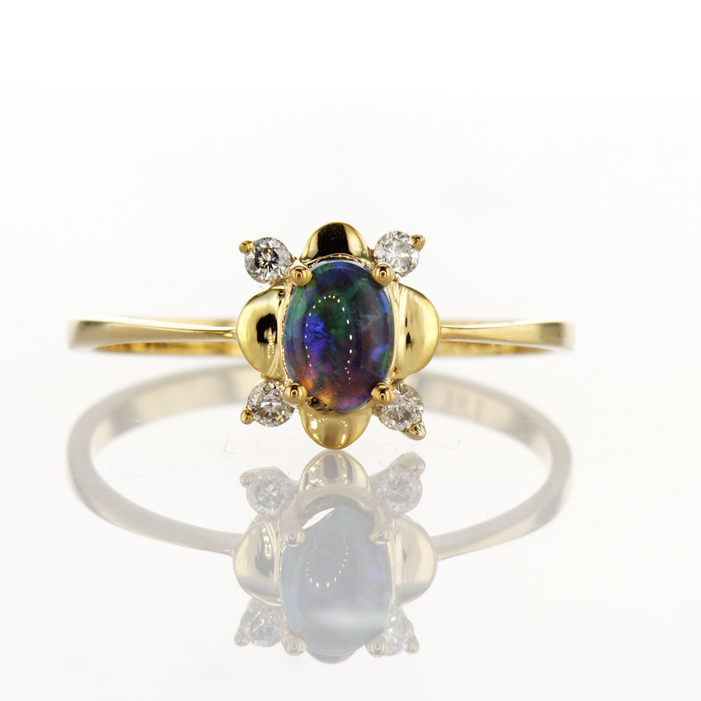 Diamond & Opal Ring, 18k Yellow Gold
