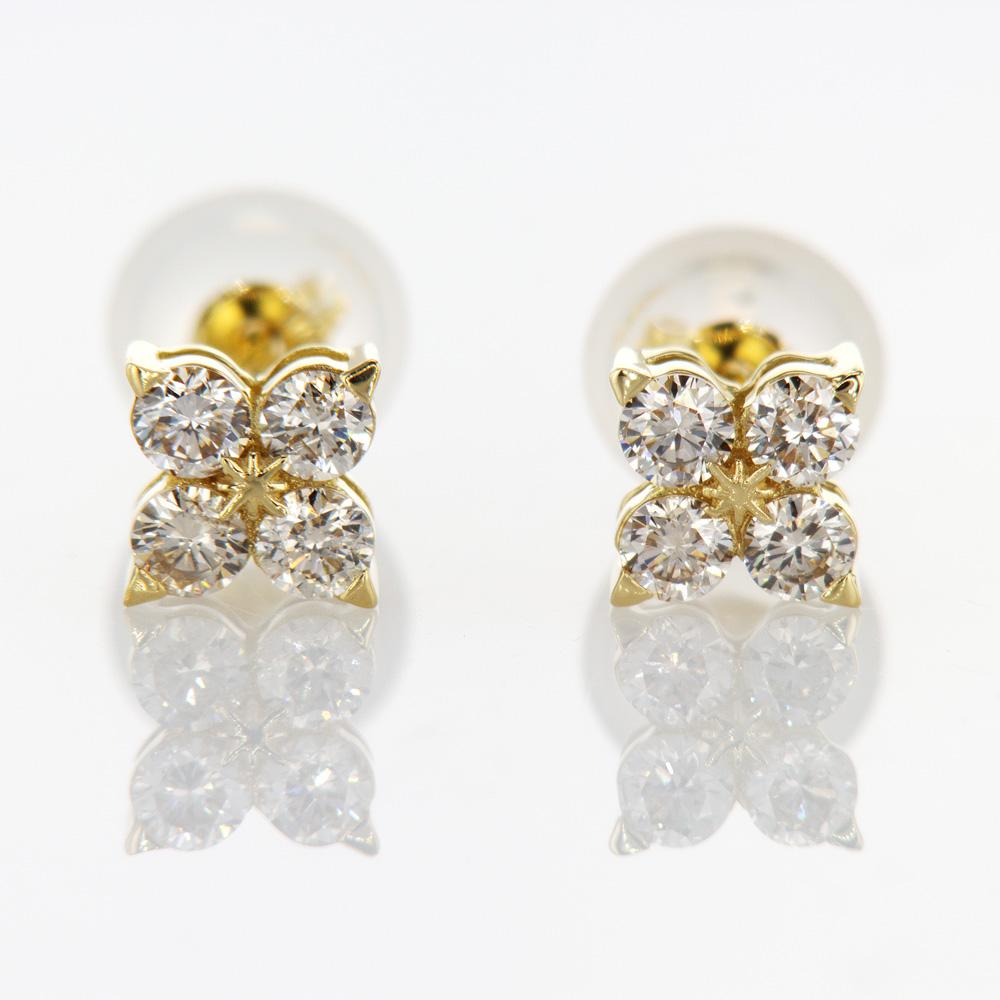 Petal Diamond Stud Earrings, 18k Yellow Gold