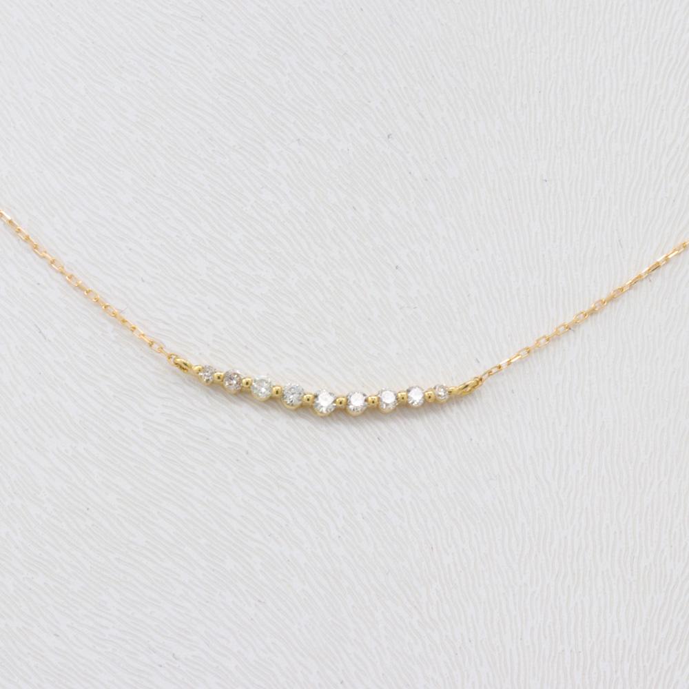 Petite Diamond Curve Necklace, 18k Yellow Gold