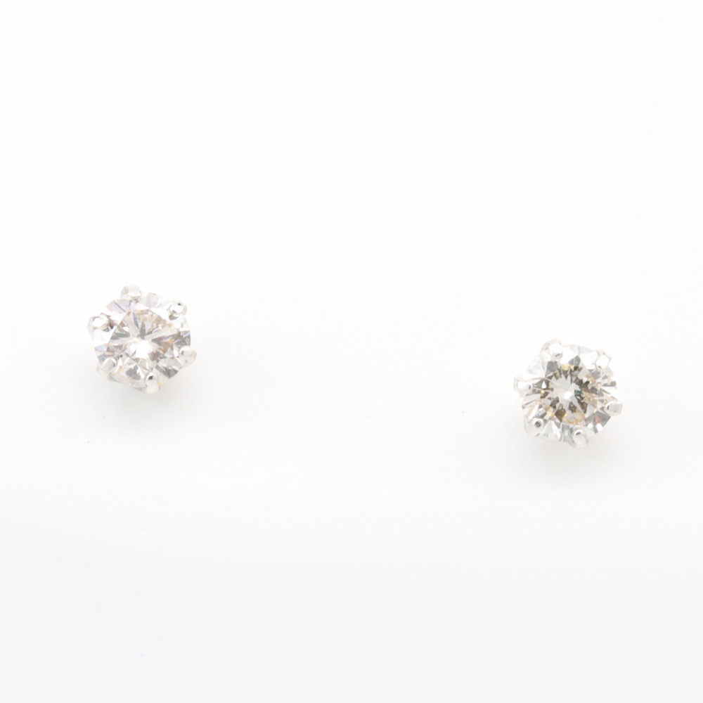 Petite Diamond Stud Earrings, Platinum
