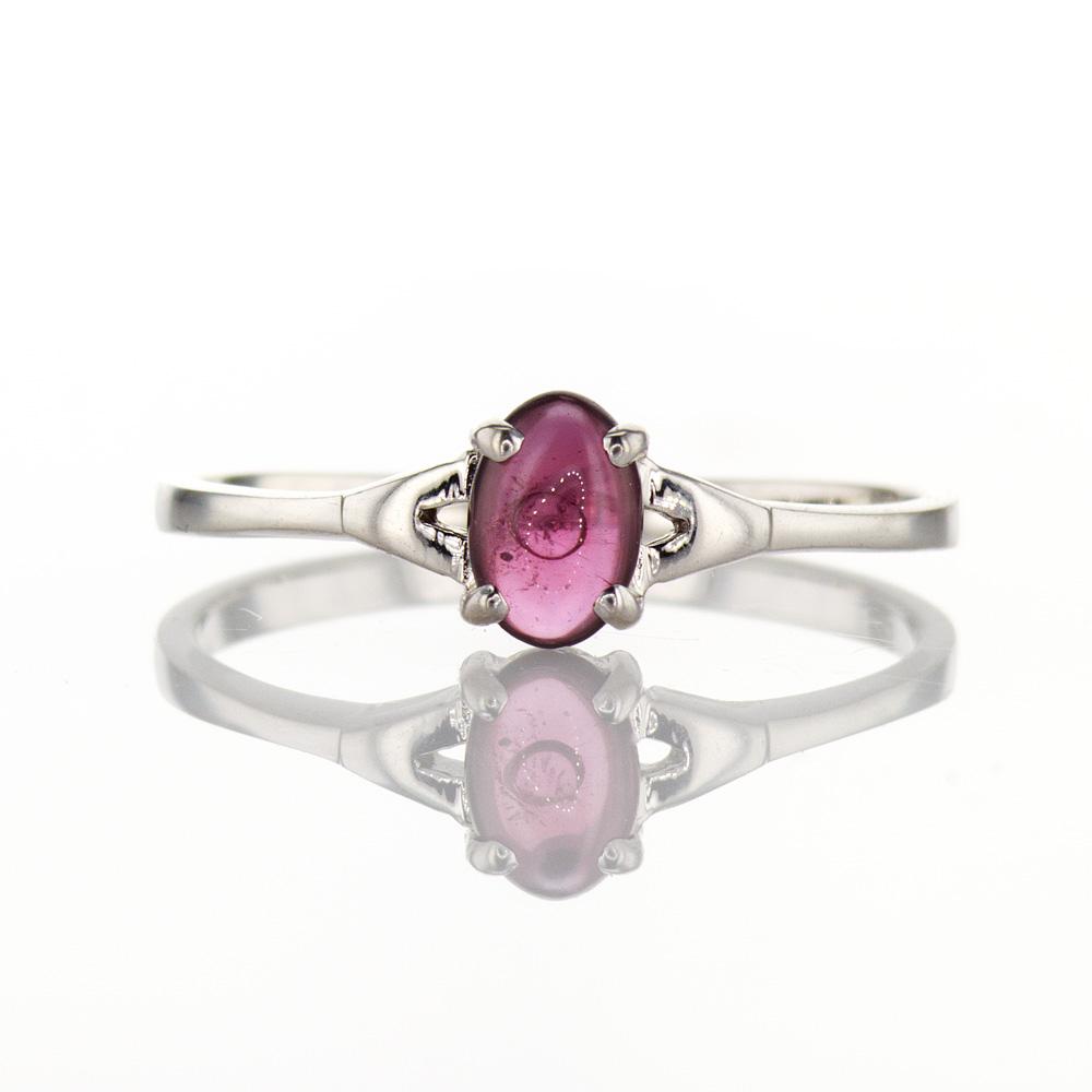 Red Cabochon Quartz Ring, Silver