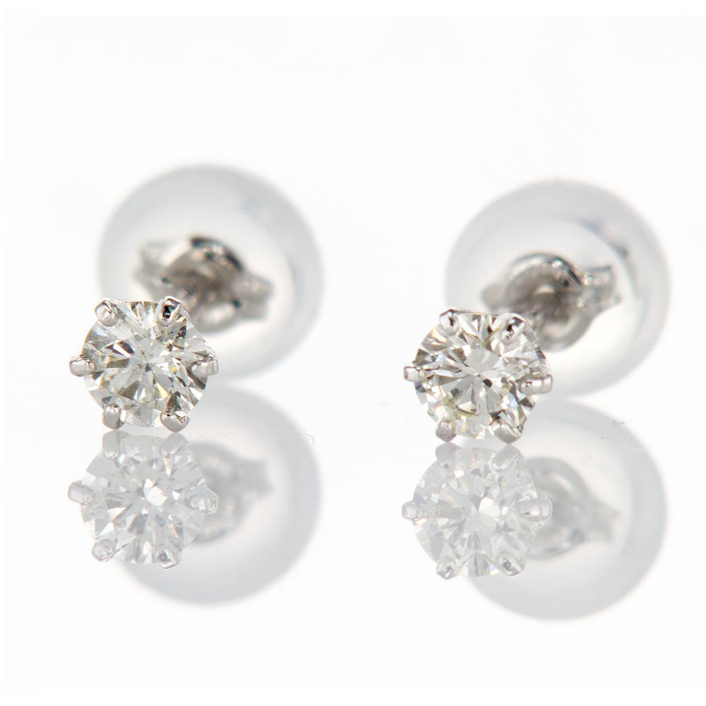 Mini Diamond Stud Earrings, Platinum