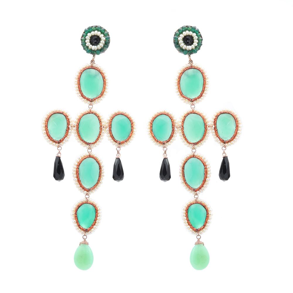 Jadeite and Onyx Dangles Earrings, Silver