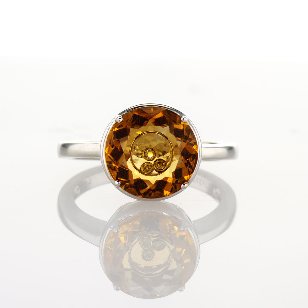 Citrine and Dancing Diamond Ring, Sterling Silver