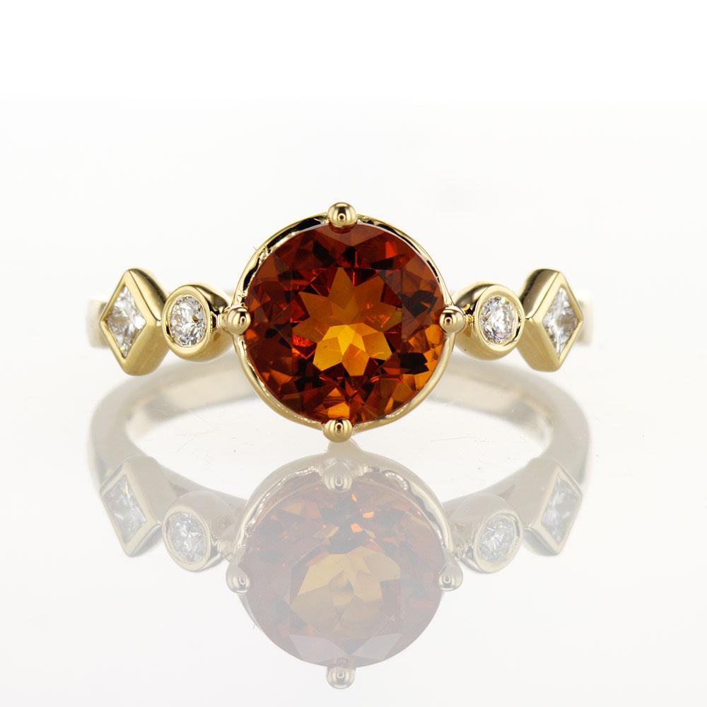 Citrine & Diamond Ring, 14k Yellow Gold