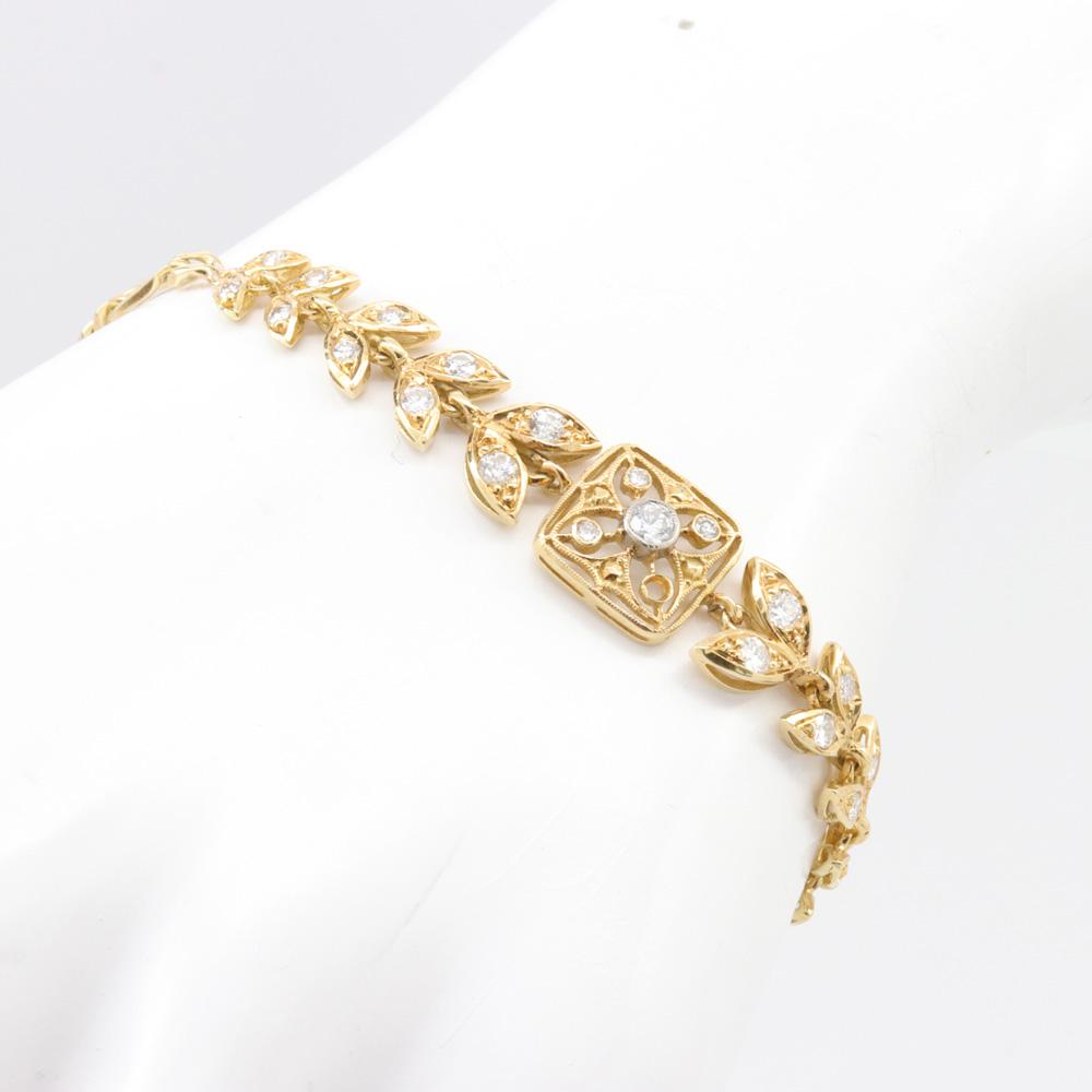 Vintage Corinthian Leaf Motif Diamond Bracelet, 18k Yellow Gold
