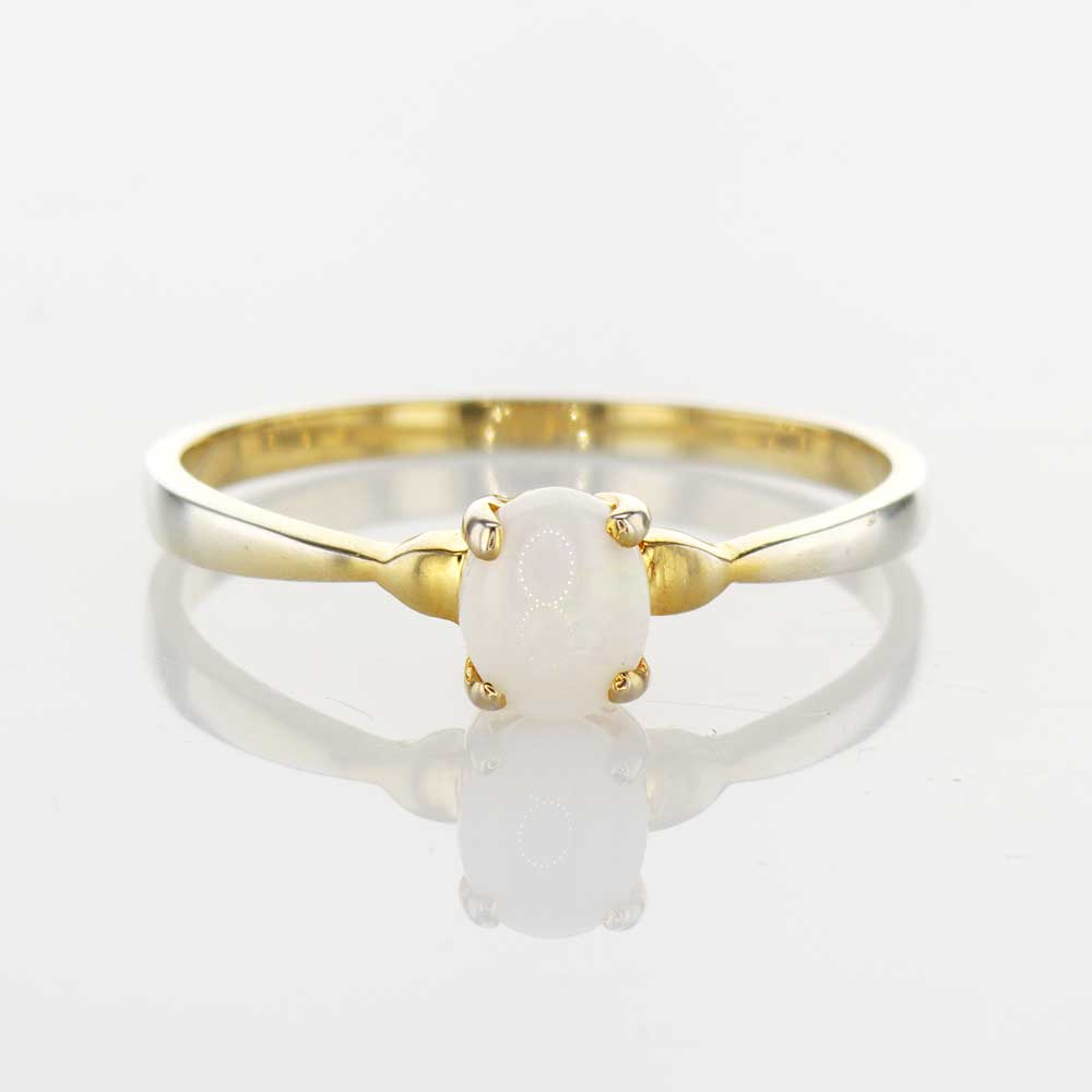 Gold Plated Milky Opal Ring, Silver