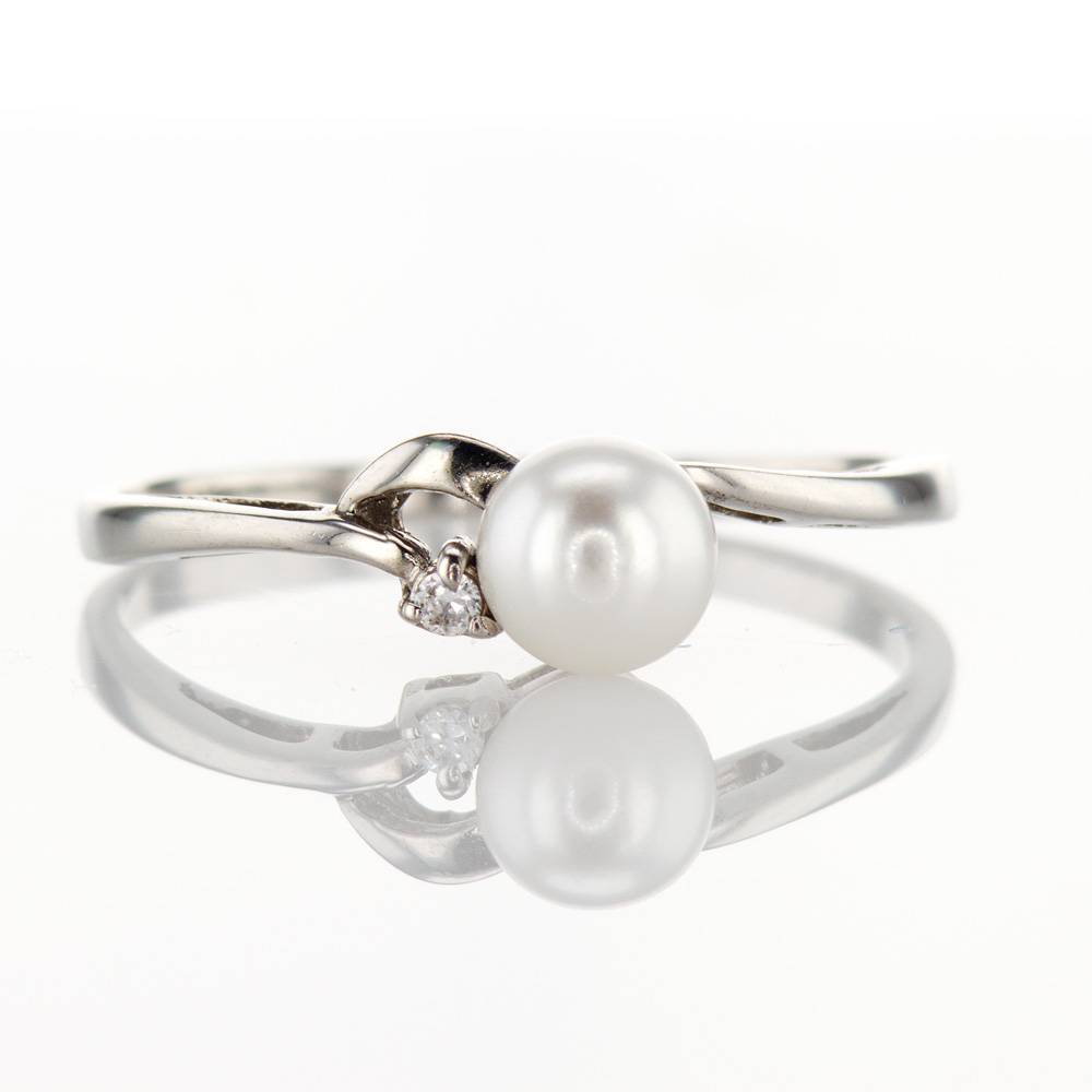 Pearl & Diamond Ring, Sterling Silver