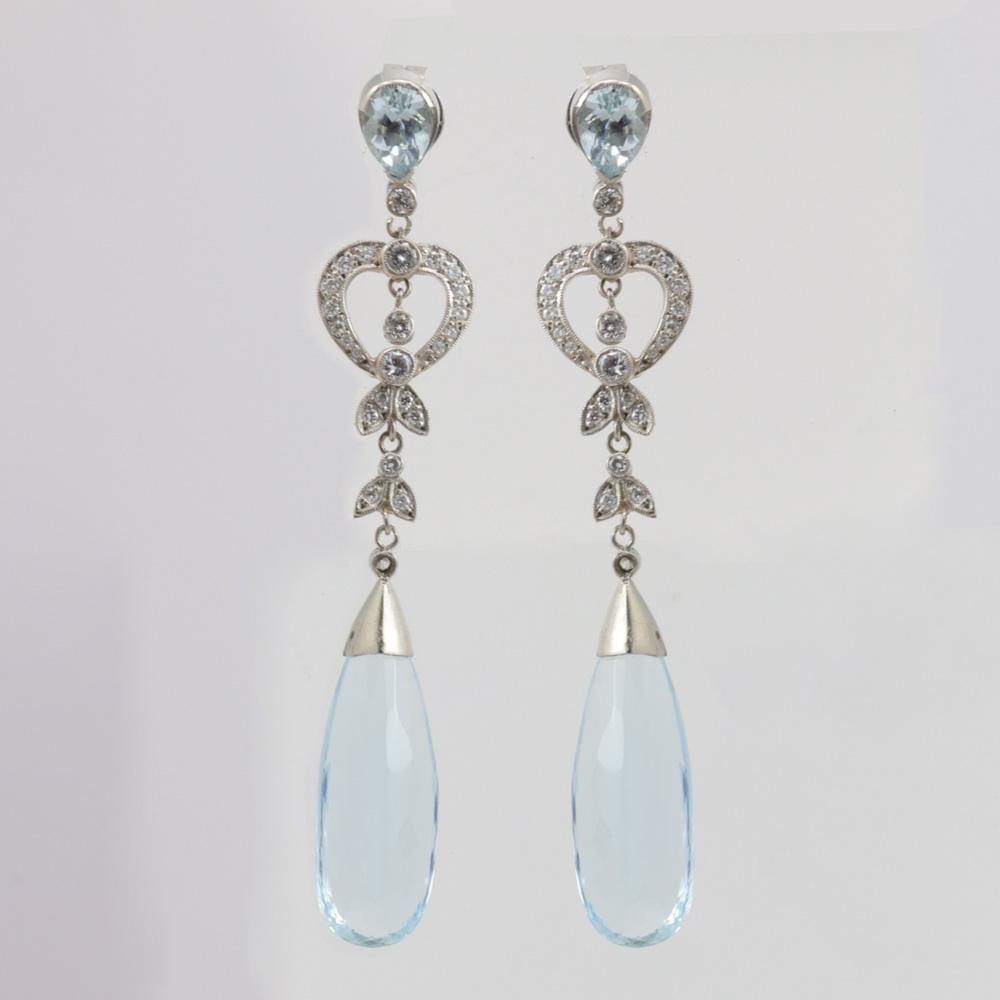 Vintage Aquamarine and Diamond Drop Earrings, Platinum
