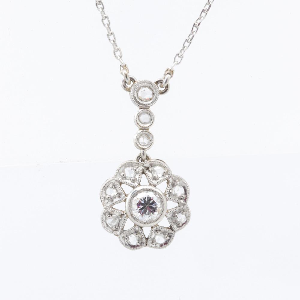 1930s Vintage European Cut Diamond Necklace, Platinum