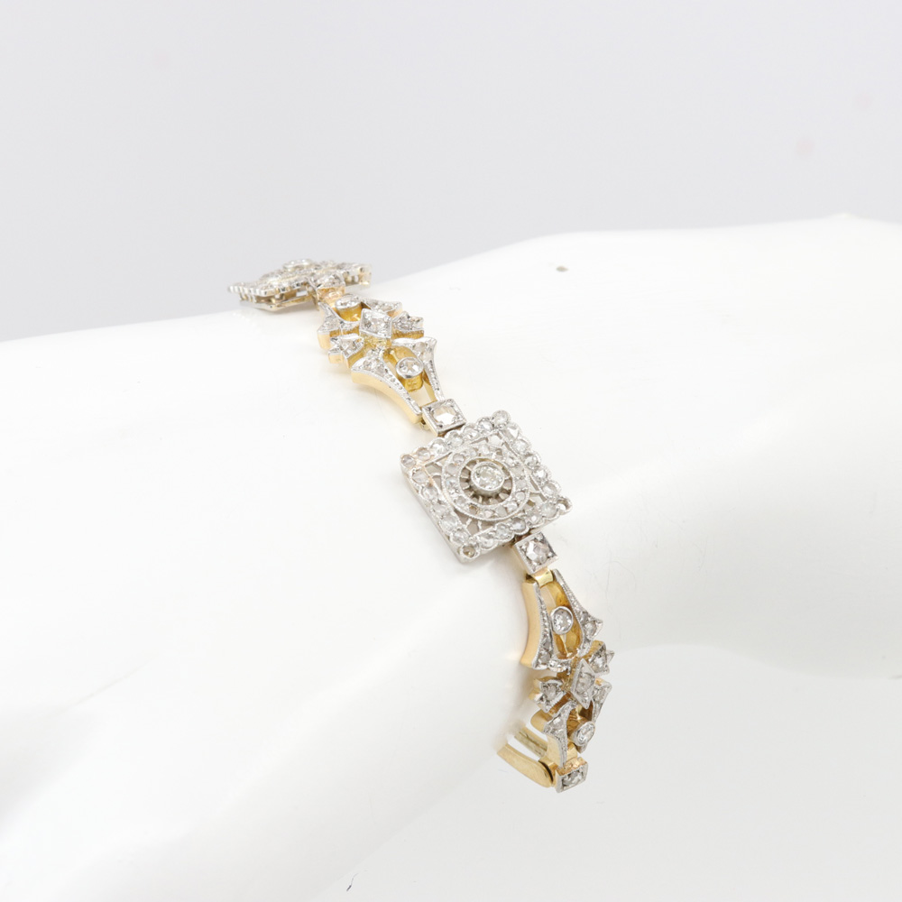 Vintage Openwork Diamond Bracelet, 18k Yellow Gold