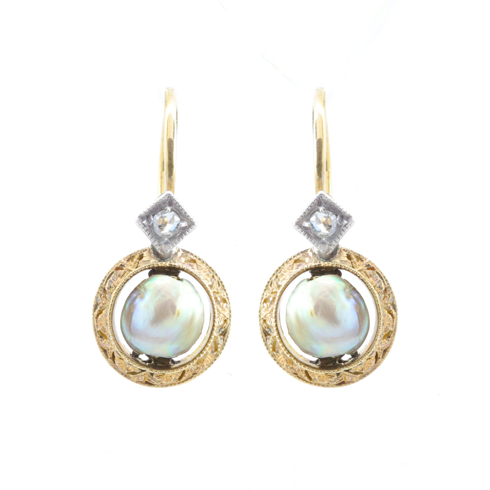 1880s Vintage Pearl Earrings with Diamond Accents, 18k Yellow Gold