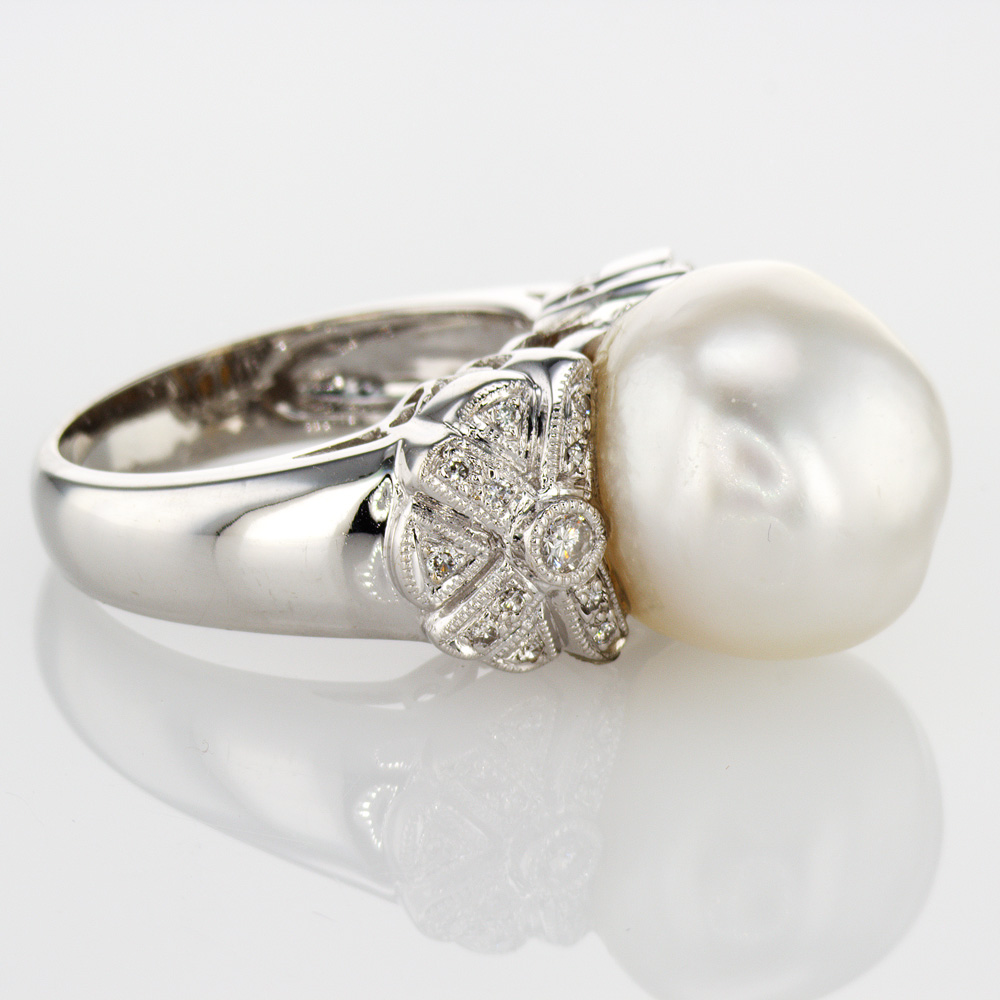 Baroque Pearl Fashion Ring with Diamond accents, 18k White Gold