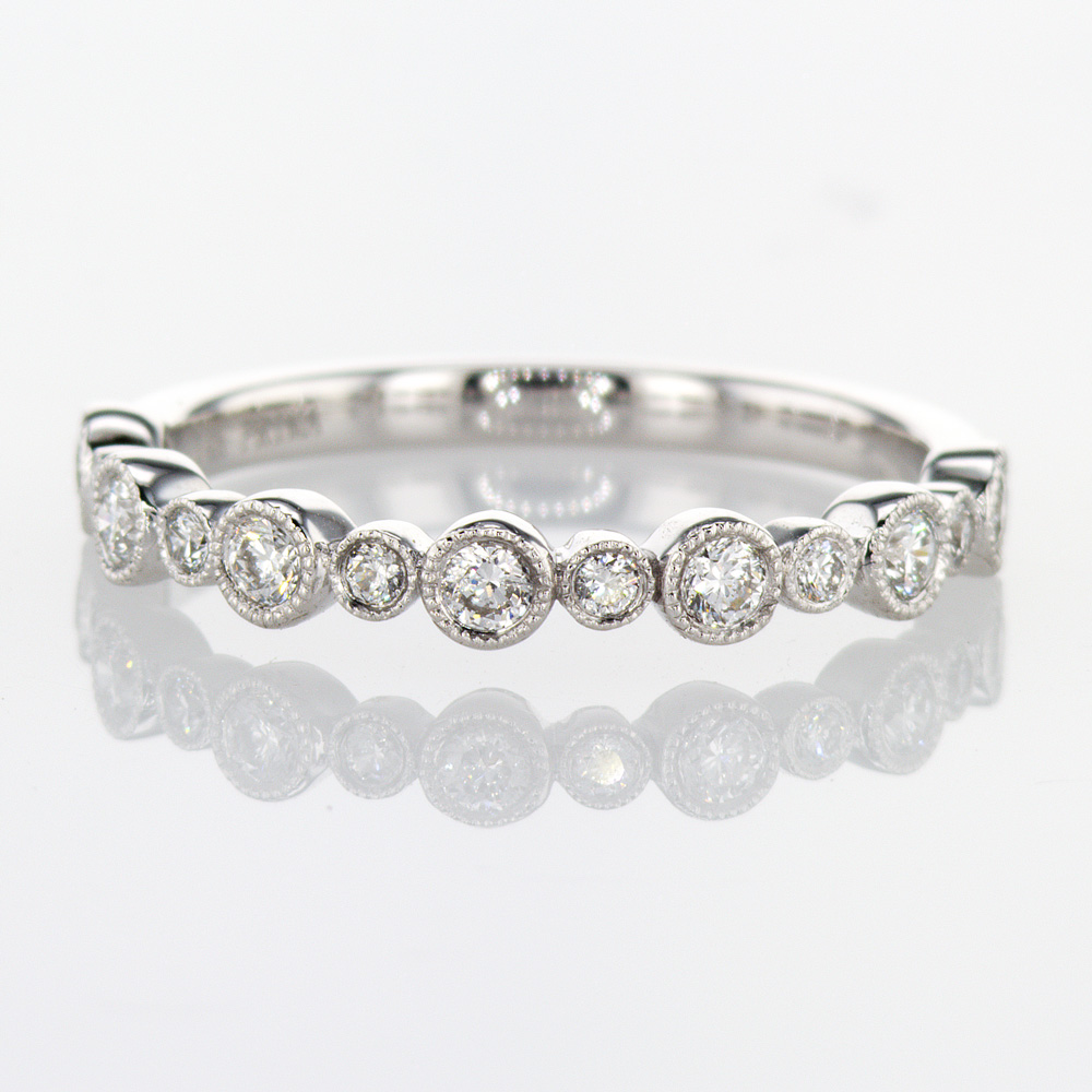 Bezel-set Diamond Wedding Ring, 14k White Gold