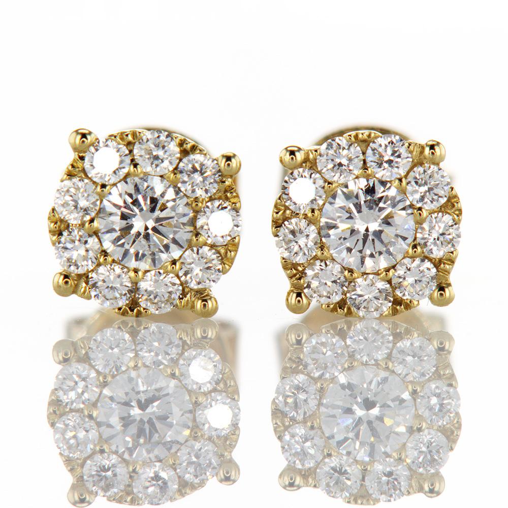 Diamond Halo Stud Earrings, 14k Yellow Gold