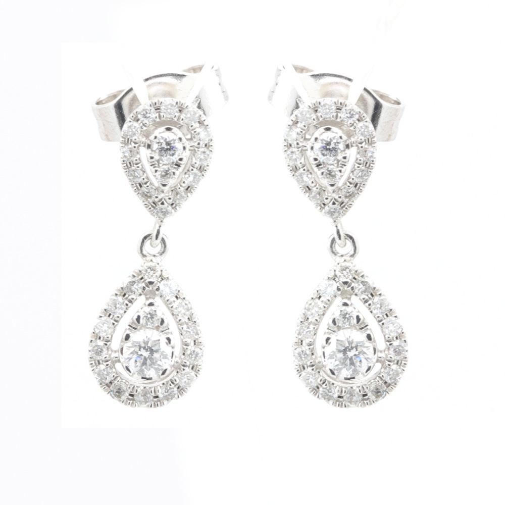 Diamond Tear Drop Earrings, 14k White Gold