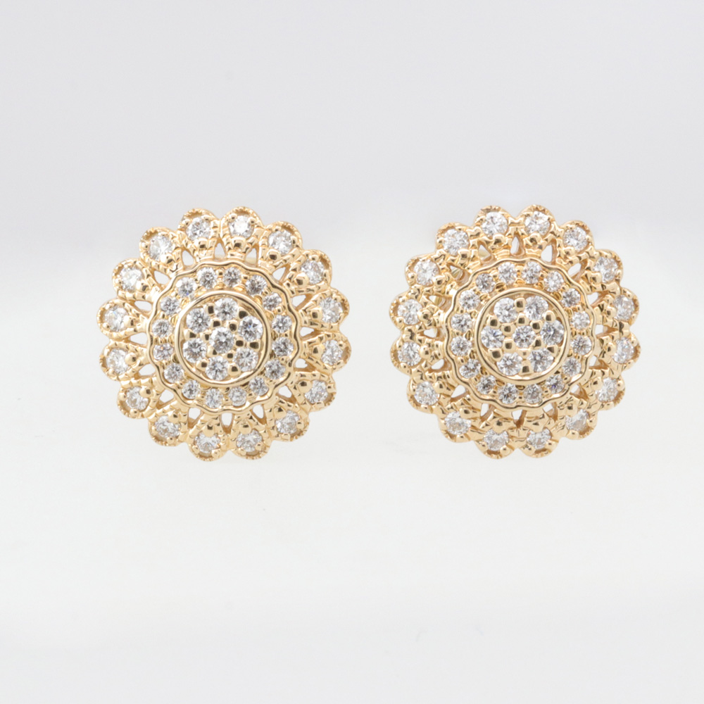 Floral Inspired Diamond Cluster Earrings, 14k Yellow Gold