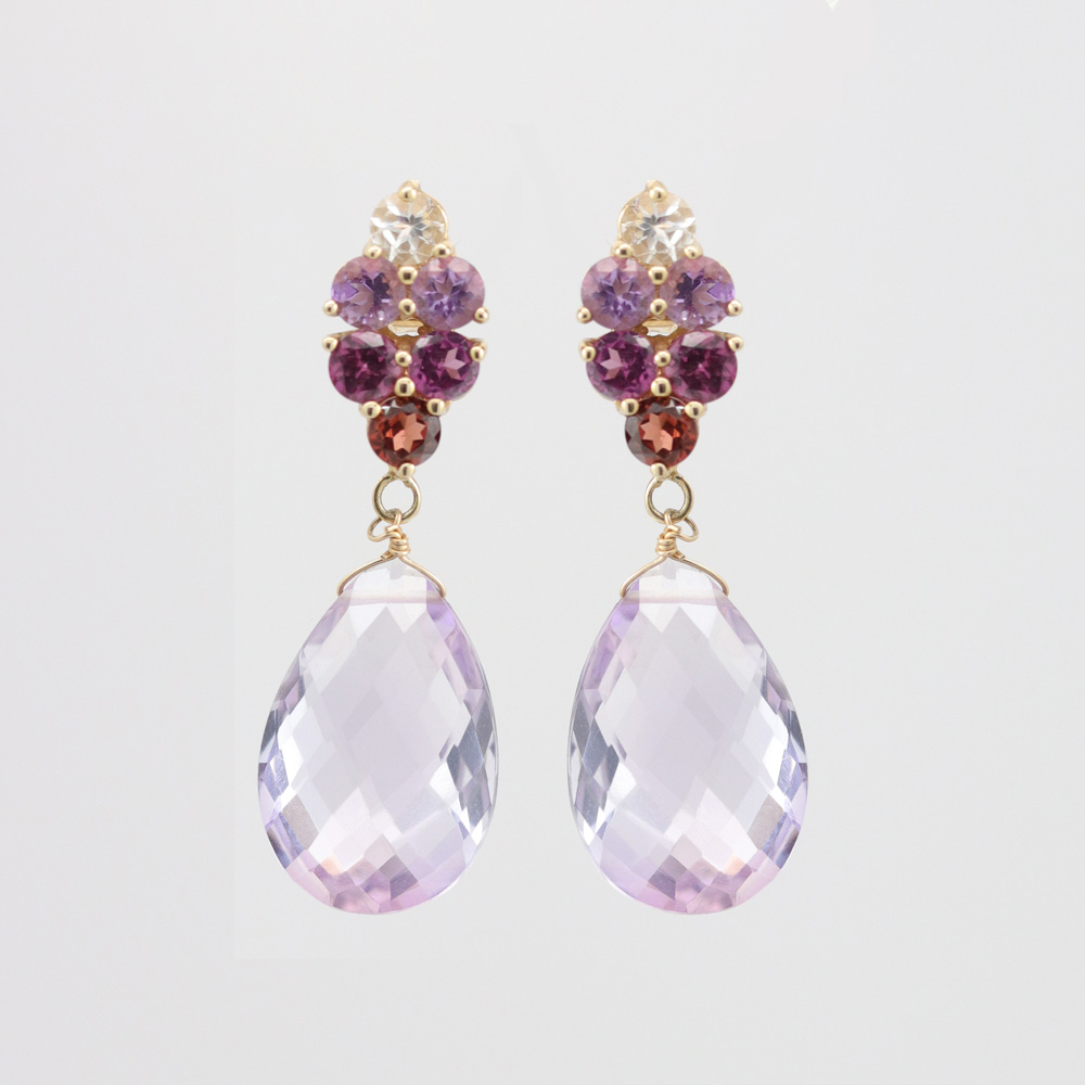 Gemstones Dangle Earrings, 14k Yellow Gold