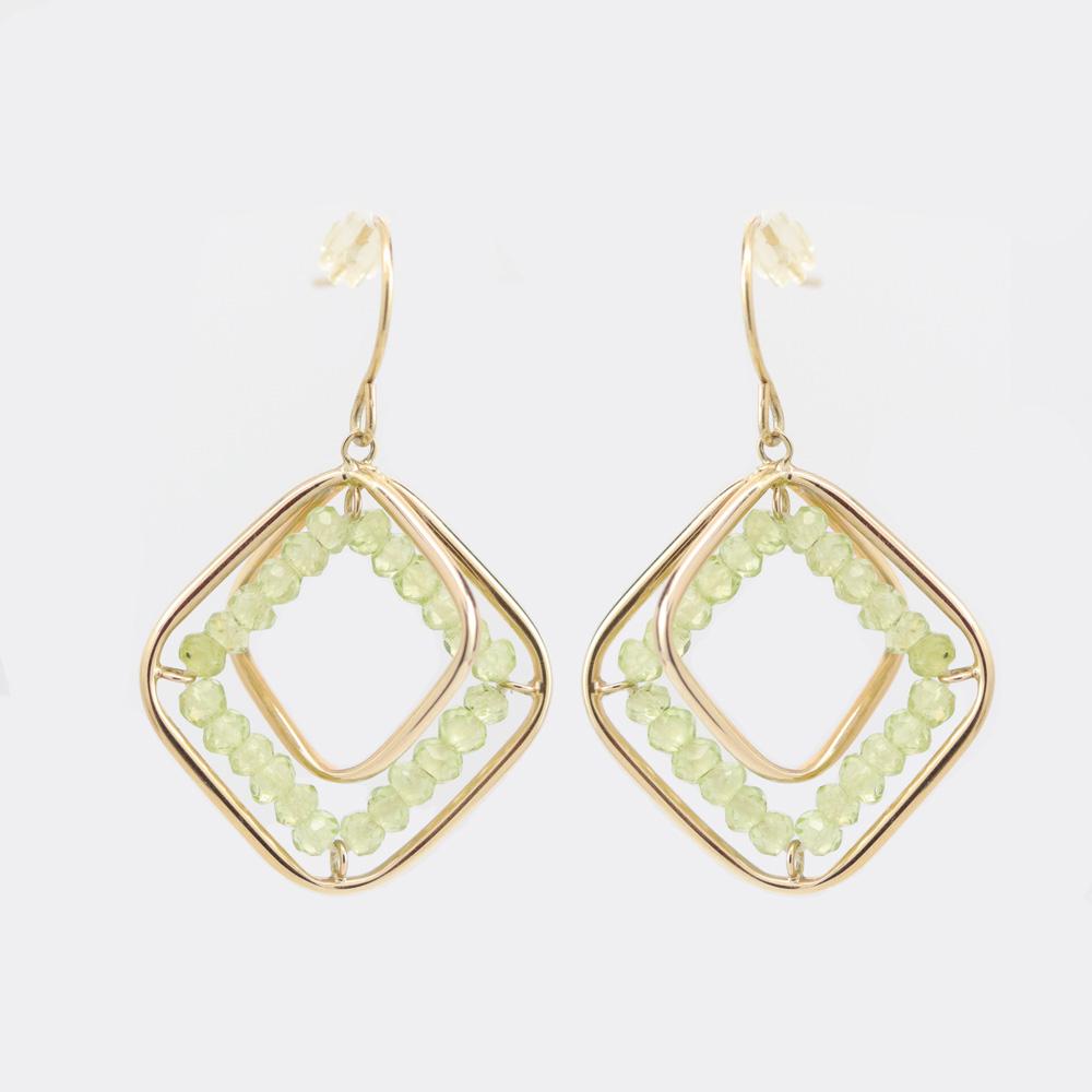 Lime Quartz Drop Earrings, 14k Yellow Gold