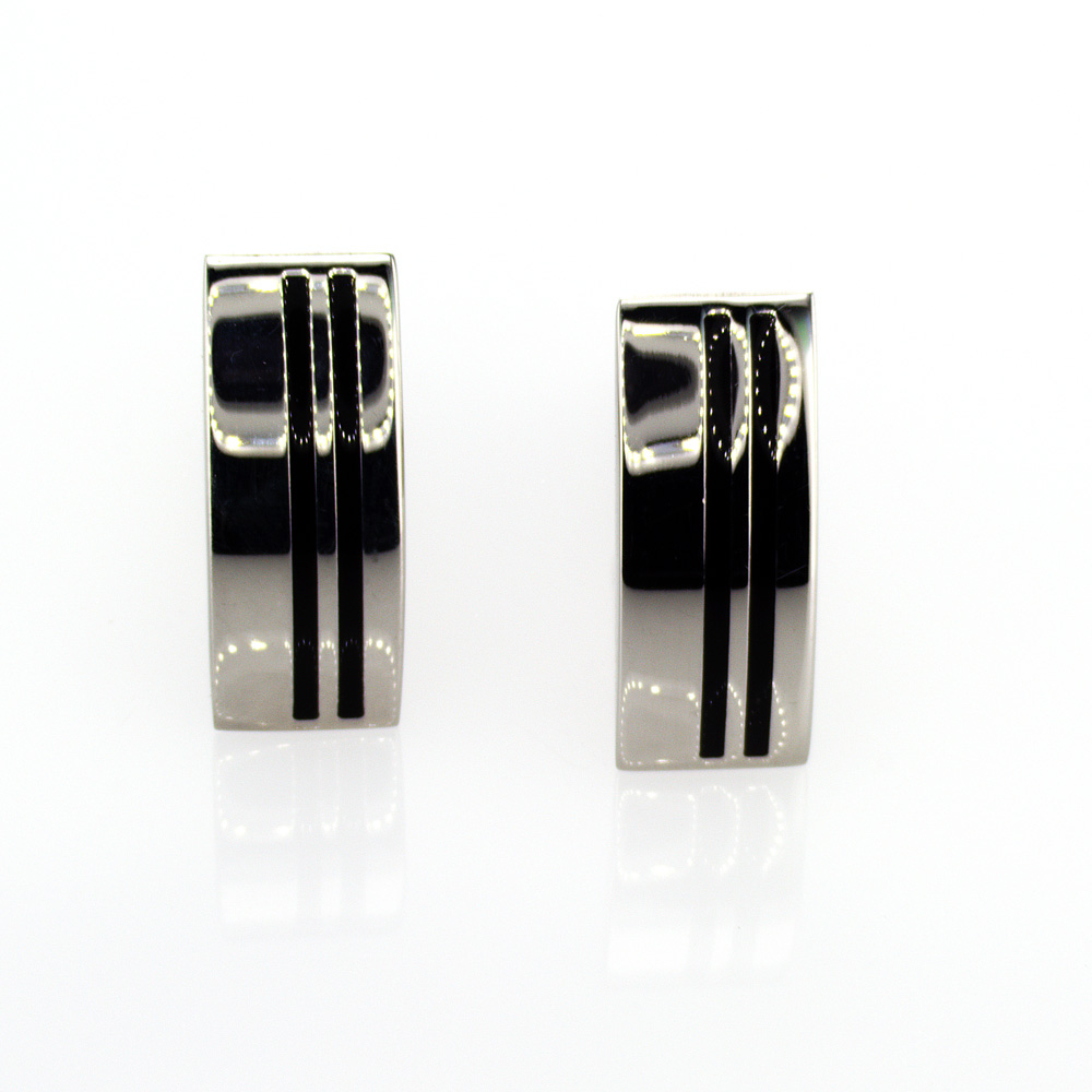 Modern Bar Cuff Links with Stripes, Stainless Steel