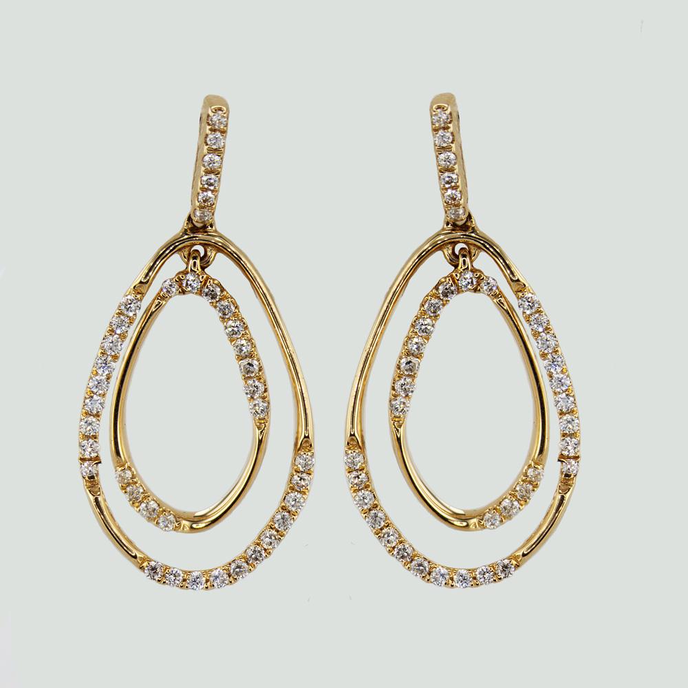 Open Work Diamond Hoop Earrings,  14k Yellow Gold