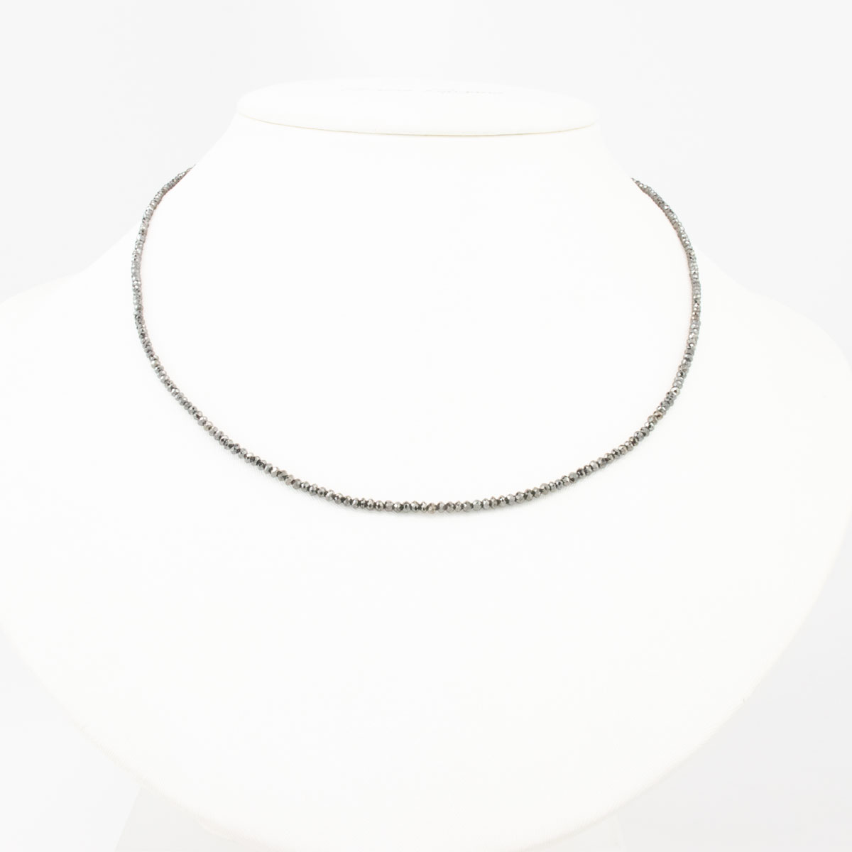 18 Carat Black Diamond Necklace, 14k White Gold