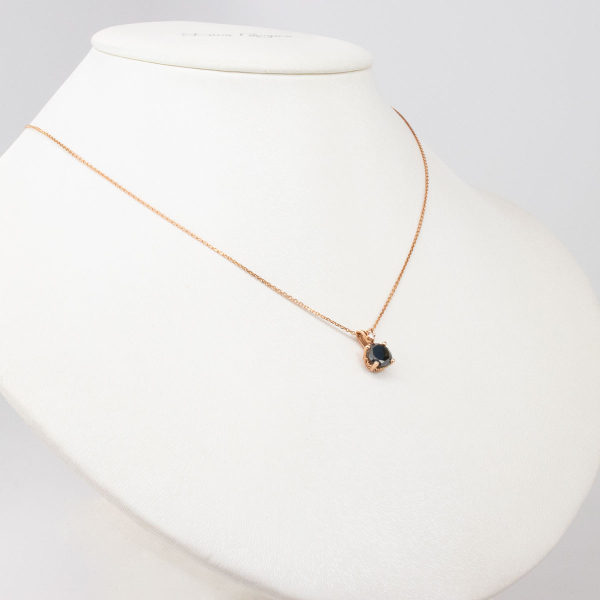 Black Diamond Pendant with Chain, 14k Rose Gold