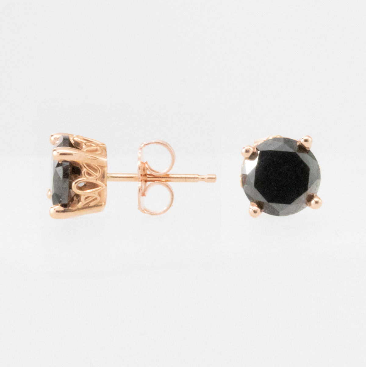 Black Diamond Stud Earrings, 14k Rose Gold
