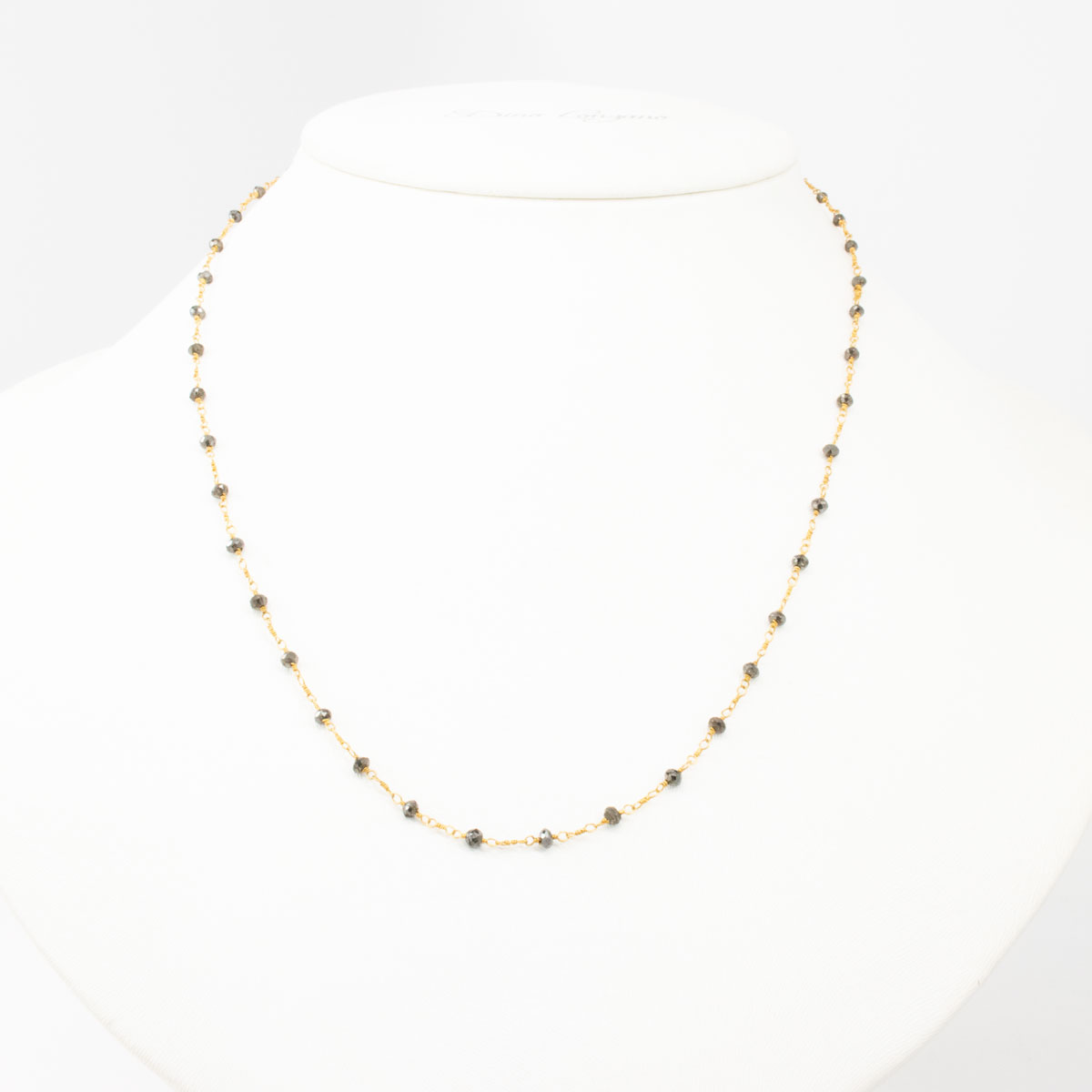 Black Diamond Bead Necklace, 18k Yellow Gold