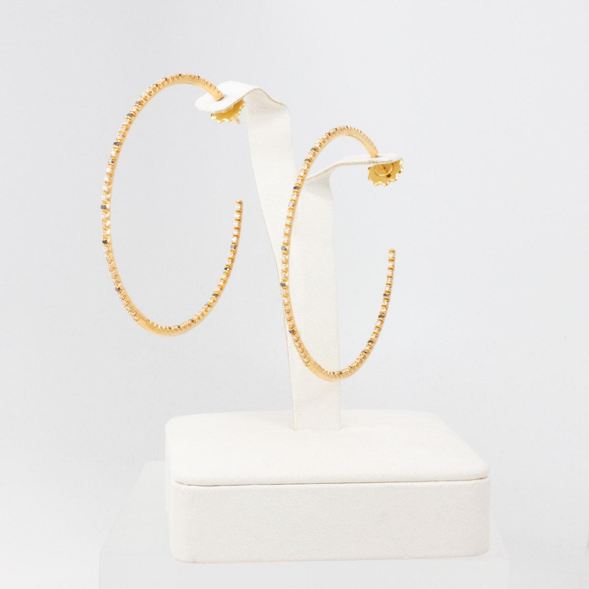 Diamond Hoop Earring with Black Diamond Accents, 18k Yellow Gold