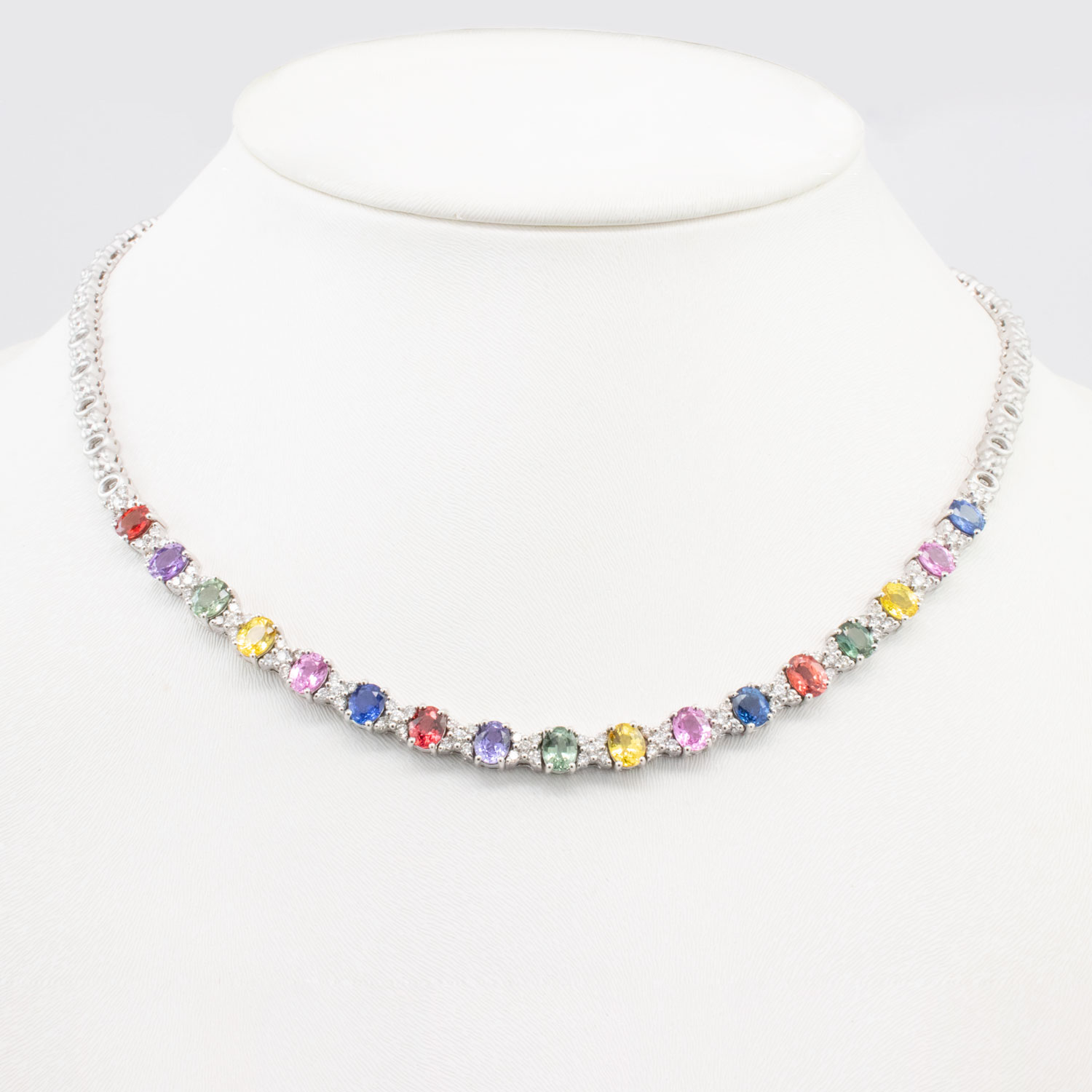 Hugs and Kisses Multicolored Sapphire and Diamond Necklace, 18k White Gold