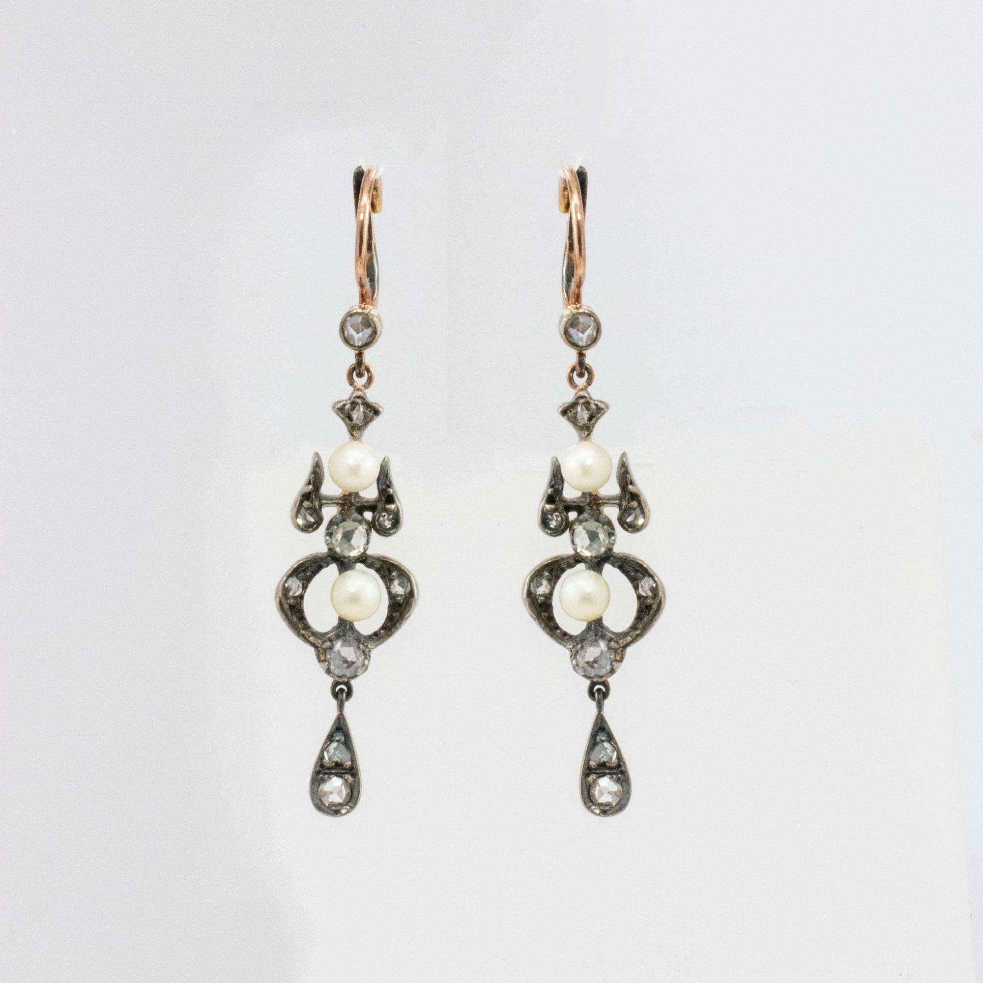 Vintage Vermeil Pearl Drop Earrings with Diamonds