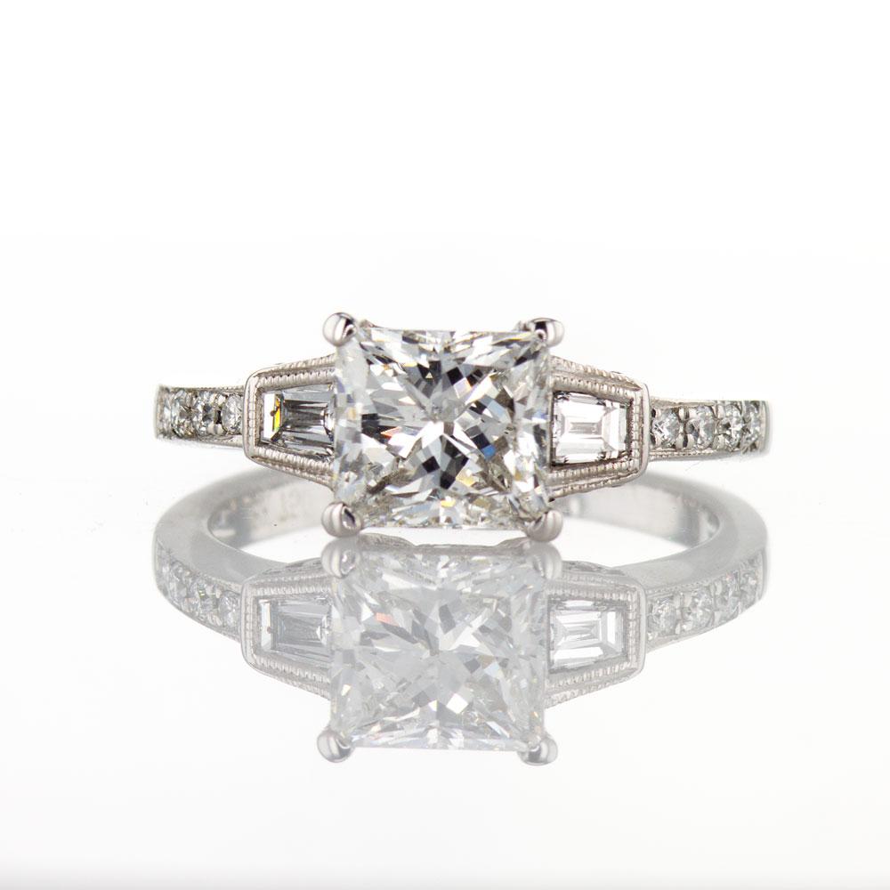 Baguette Diamond Accent Engagement Ring, 18k White Gold