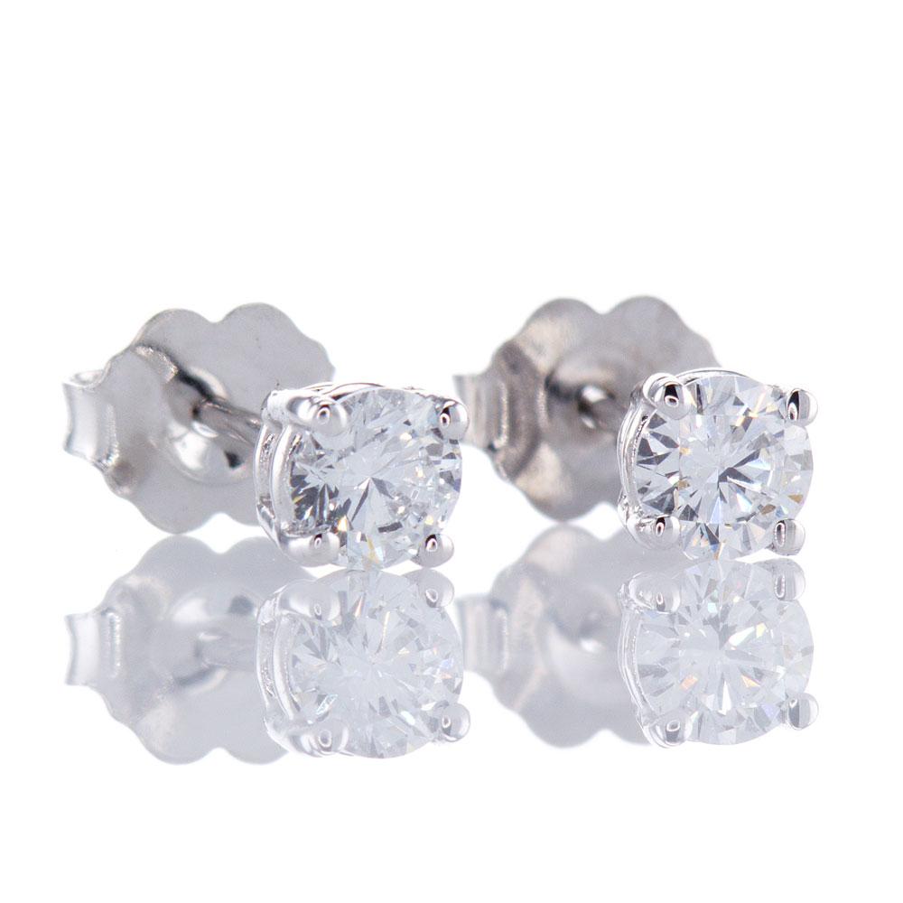 Diamond Stud Earrings, 14k White Gold