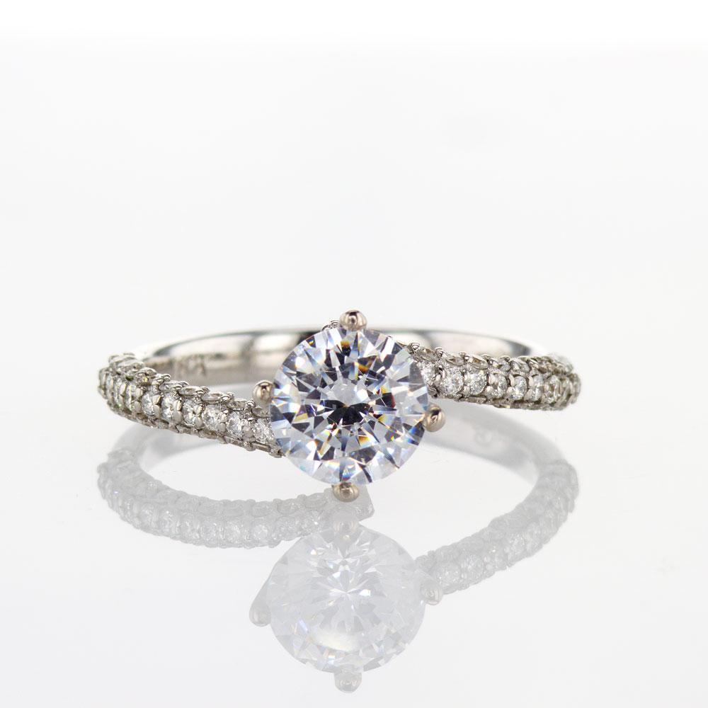 Modern Bypass Engagement Ring, 18k White Gold