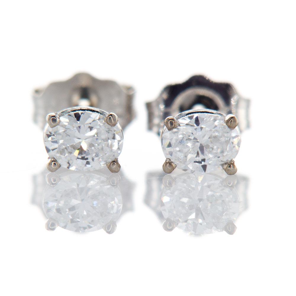 Oval Diamond Stud Earrings, 14k White Gold